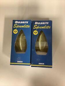 QTY 2 Bulbrite Spunlite Satin Amber Incandescent  Lightbulb 25 Watt 130v #25C11A