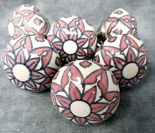 Ceramic Drawer Pull Handles Pink Gray White Set of 6 Button Style Fancy Ornate