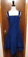 Oscar De La Renta Blue Silk PLeated Fit and Flare Shift Dress Sz 10
