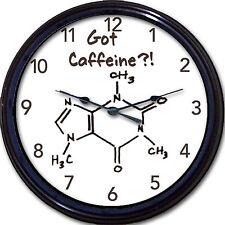 "Got Caffeine?! Coffee Chemistry Wall Clock Molecule Element Cup Mug Novel 10"""