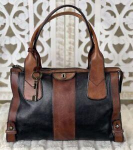 FOSSIL Vintage Reissue Black & Whiskey Brown Leather Satchel Shoulder Handbag