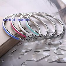 925 Sterling Silver NEWEST COLORFUL Moments Bangle Bracelet fit European