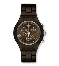 New Swatch Irony Chronograph Full Blooded Smoky Brown Date Stop Watch SVCC4000AG