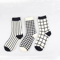 Men Women Warm Cotton Socks Stripe Houndstooth Grid Printed Casual Long Socks