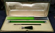 ANTIQUE ENGLISH GLASS & STERLING SILVER WRITING PEN BOXED SET SIDNEY MILLS 1906