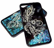 For iPhone 7 PLUS - Half Flower Print Blue Green Heart Glitter Liquid Water Case