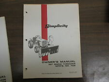 "Simplicity 52"" Snow thrower blower owners & maintenance manual Model# 709"
