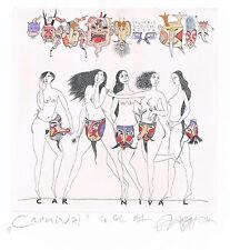 "Ex libris  Nozdrin "" Carnival""  Nude. Original etching,  watercolor, gold"