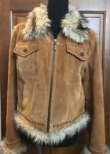 GIACCA (Gallery) Women's Size Large  Suede Leather & Faux Fur Trimmed Jacket GUC