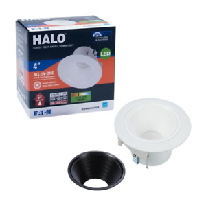 HALO - 4 in White Integrated LED Recessed Ceiling Light Trim Deep Baffle