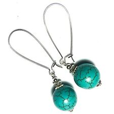 Turquoise Gemstone Earrings Bead Drop Dangle Tibetan Silver Style UK MADE