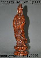 old China Boxwood wood Hand-carved goddess Tara Kwan-Yin Guanyin Buddha statue
