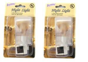 Set of 2 UL Approved Night Lights Home Decor 7 Watt Bulb On/Off Switch (5063)