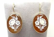 14k Gold Genuine Natural Shell Cameo Floral Bouquet Earrings (#3636)