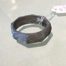 size 9  GIBEON IRON NICKEL RHOMBUS CUT METEORITE RING - Original Natural Color