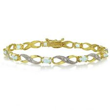 Gold Tone over 925 Silver Created White Opal & Diamond Accent Infinity Bracelet