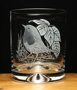 Robin bird engraved glass tumbler gift present