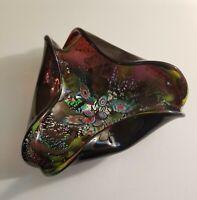 1950's Black Amethyst Murano Silver Fleck Millefiori Art Glass Bowl