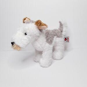 "Ganz Webkinz Fox Terrier Plush Puppy Dog White Gray Tan 8.5"" NO Code"