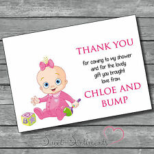 Personalised Girl Glossy Thank You baby Shower Card - 12 with Envelopes style 1