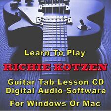 RICHIE KOTZEN Guitar Tab Lesson CD Software - 20 Songs