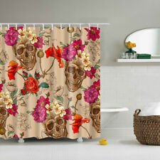 Floral Skull Novelty Horror Waterproof Shower Curtain + 12 Hooks 180x180cm