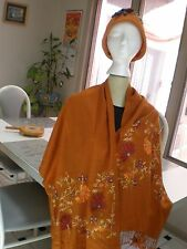 GORGEOUS PUMPKIN COLOR SCARF PASHMINA & HAT NICE AND SOFT WOOL LARGE PRISTINE