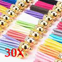 30 Pcs Suede Leather Tassel For Keychain Jewelry DIY Pendant Findings Crafts Set