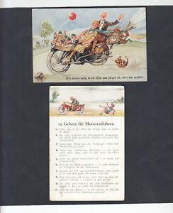 2 Humor-AK Motiv Motorrad, 1x 10 Gebote für Motorradfahrer, sig. HB