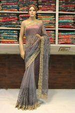 Indian Pearl Work Net Bollywood Saree Designer Grey Sari Bridal Party Wear Dress