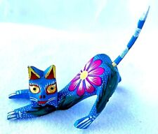 Little Cat Alebrije With Rump in Air Hand Painted Oaxacan Wood Carving Oaxaca