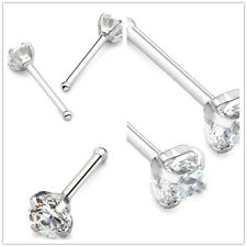 Steel 2mm Clear Rhinestone Crystal Nose Bone Stud Ring Body Piercing Decor 2pcs