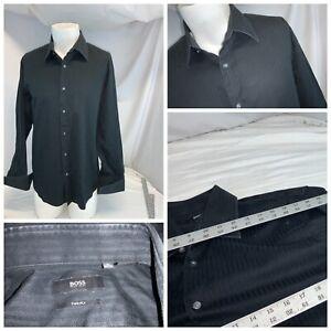 Hugo Boss French Cuff Shirt 16 33 Black Herringbone Cotton EUC YGI E0-66