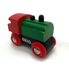 Vintage Small Wood BRIO Train Red Green Black Wooden Wheels Toy