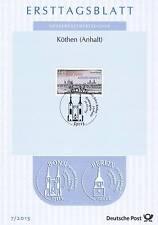 BRD 2015: Köthen 900 Jahre! Ersttagsblatt der Nr 3138 mit Bonner Stempel! 153