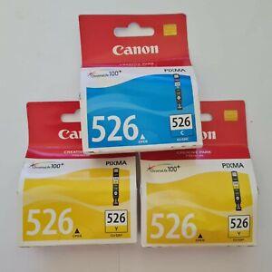 Genuine Canon Pixma 526 PGI-526C PGI-526Y / 2 x Yellow / 1 x Cyan Ink Cartridges