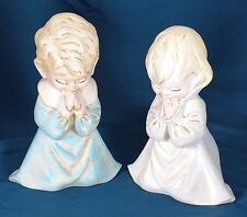 "Vintage Praying Boy and Girl Figurines, Handmade, Plaster, 7 1/2""  to 8"" Tall"