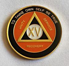 4 Year Orange & Black AA Recovery Medallion - Anniversary / Birthday AA Coin DSC