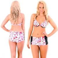 Bikini Swimwear Size 8 Women Pink Roses Retro High Waisted Boyleg Bathers Beach