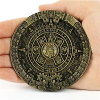 Maya Xiuhpohualli Aztec Calendar Statue Belt Buckle Man Leather Southwestern