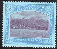More details for dominica 1921 purple/blue on blue 2/- multi-script ca mint sg69