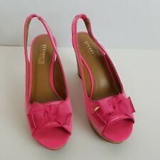 SPERRY TOP SIDER South Sea Womens Pink Sequin Cork Wedge Sandals Heels Sz 7.5 M