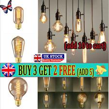 Filament Vintage Amber Glass Retro Light Bulb E27 /40W Screw Edison Globe UK AT`