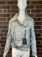 NWT MARC NEW YORK by ANDREW MARC Madison White Crackle Leather Women's Size L