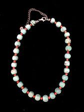"""14"""" Turquoise And Coral Beaded Necklace #786"""