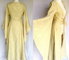 Vintage 70s Gold Huge Flared MEDIEVAL Sleeve Dress Coat XS UK6 Halloween Costume