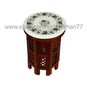 White Marble Small Round End Side Accent Inlay Coffee Table Bedroom Living Room