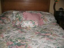 LAURA ASHLEY COUNTRY ROSES FLORAL PINK GREEN STRIPES 6 PIECE TWIN COMFORTER SET
