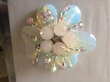 Brooch Opal Swarovski Crystal Flower