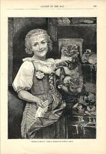 Stampa antica GATTO COLTO IN FLAGRANTE CAUGHT  IN THE ACT 1886 Old antique print